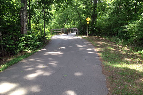 Downhill to second bridge crossing Richland Creek