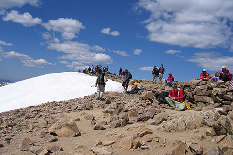 A crowded Mount Elbert summit