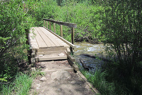 Bridge crossing creek on the Colorado Trail - near the trailhead kiosk