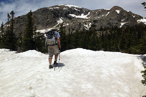 snow covering the trail to Pear Lake