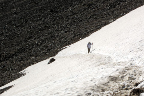 crossing the snowfield before the saddle