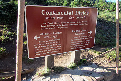 Milner Pass sign designating the Continental Divide