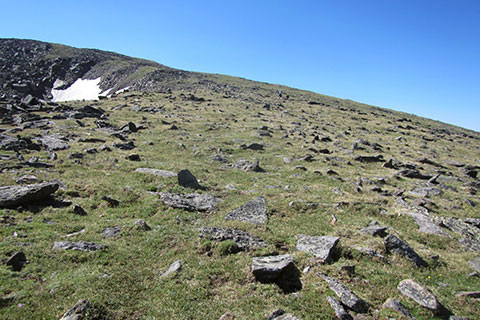 the slope above the saddle