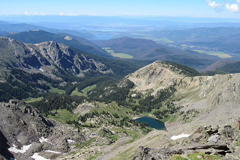 Julian Lake and south to Grand Lake from the summit of Ida