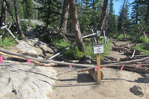 Trail closed for construction on trail next to Cascade Creek