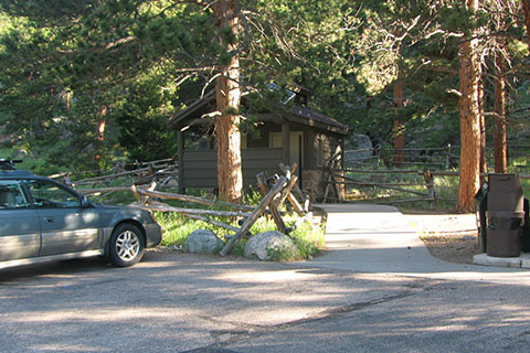 Lawn Lake Trailhead parking and privies.