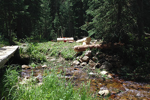 bridge work near Ptarmigan Creek