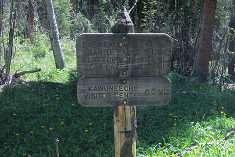 Green Mountain Trail Sign indicating distances to attractions