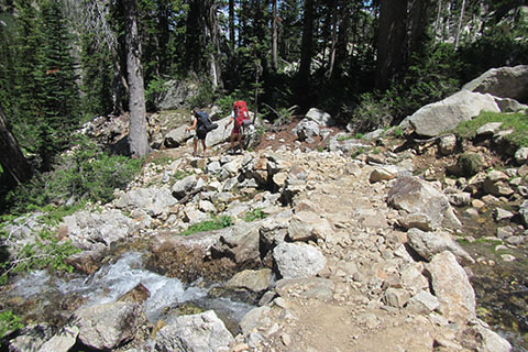 Backpackers descending new section of the trail