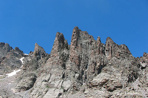 The rocky towers to the north of Sky Pond