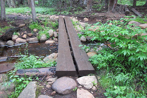 Two plank footbridge over a small creek