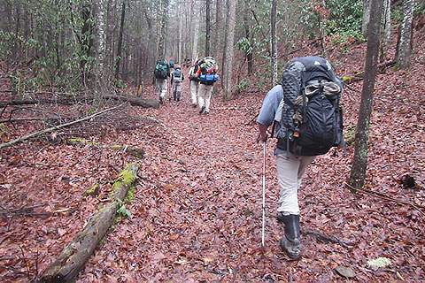 A group of hikers on the wide trail