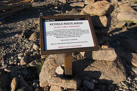 Safety sign in the Boulderfield along the Keyhole Route of Longs Peak - Rocky Mountain National Park