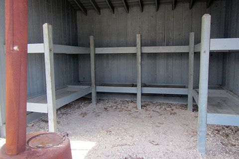 inside Shelter - dirt floor and bunks